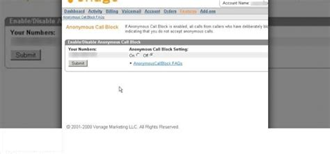 Vonage Phone Number Lookup Anonymous Call