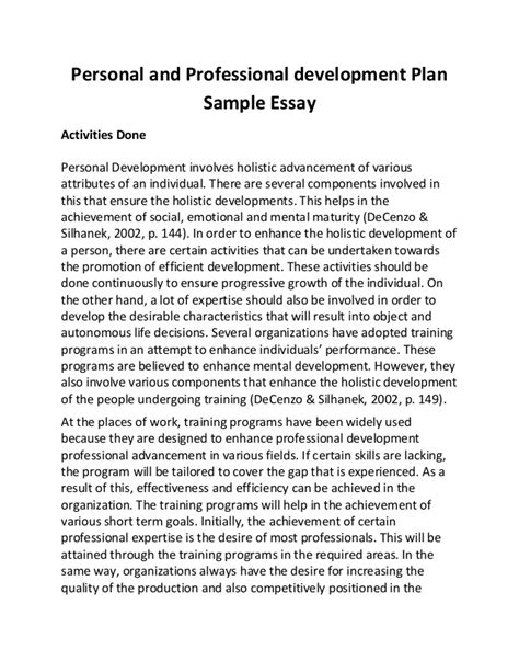 personal and professional development plan sle essay