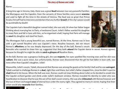 biography comprehension activity ks2 the story of romeo and juliet reading comprehension