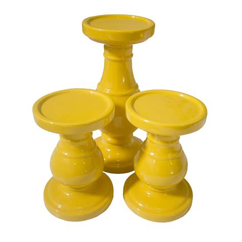 Yellow Livingroom yellow candle holder set lux furniture rentals