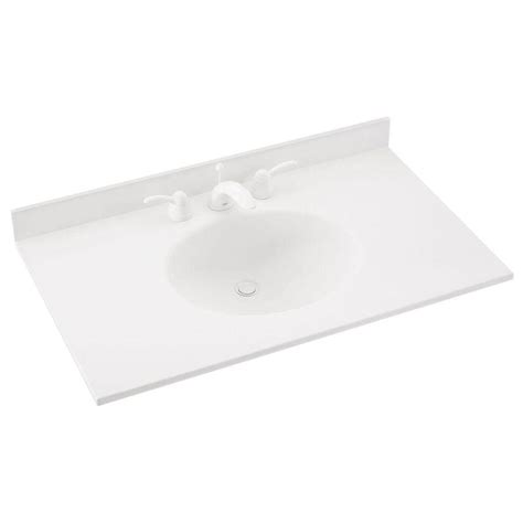 Solid Surface Vanity Top With Sink by Swan Ellipse 31 In W X 22 In D Solid Surface Vanity Top