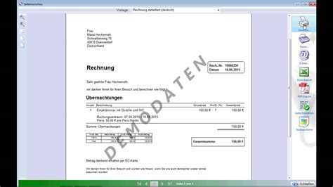 Hotelrechnung Vorlage Hs 3 Hotelsoftware Rechnung Erstellen