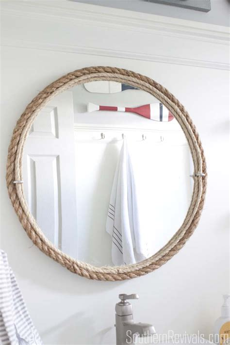diy rope mirror tutorial nautical style bathroom mirror