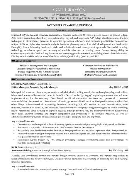 Supervisor Resume Exles by Accounts Payable Resume Format 28 Images Accounts