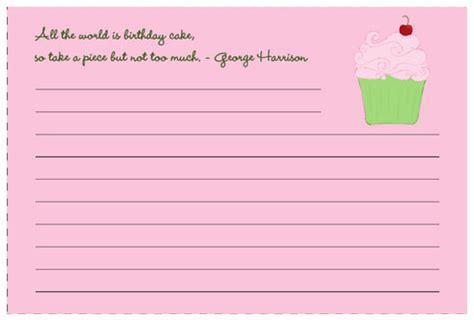 cupcake recipe cards templates 300 free printable recipe cards