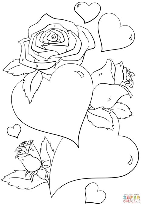 Coloring Pages Hearts And Roses by Hearts And Roses Coloring Pages Coloring Home