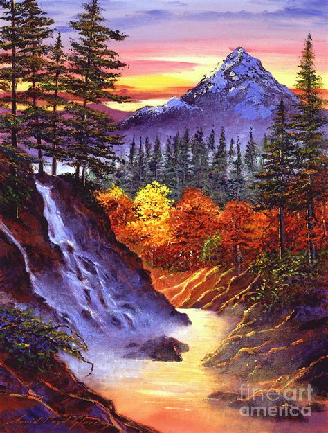 Small Lake Cottage Plans deep canyon falls painting by david lloyd glover