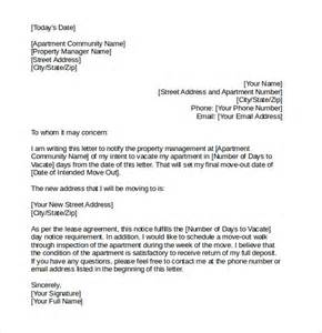 Letter Of Notice To Vacate Apartment by Letter Of Intent To Vacate 7 Free Documents In Pdf Word
