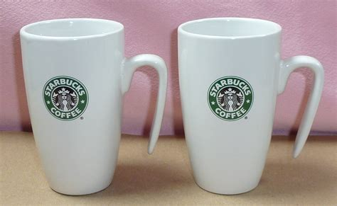 coffee mug handle birdsvintageemporium starbucks white open handle set of