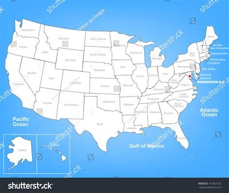 dc usa map vector map of the united states highlighting washington d