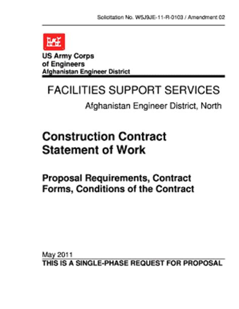 contractor statement of work template forms fillable