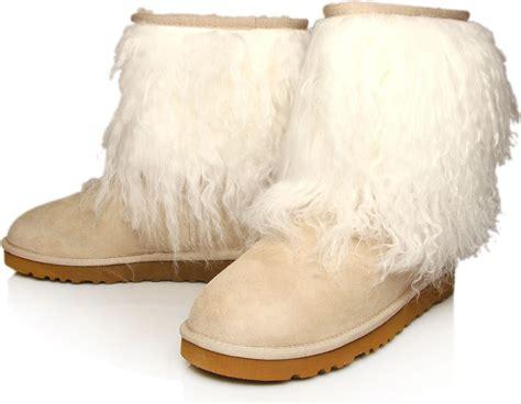 fur ugg boots ugg fur cuff sheepskin boots in brown lyst