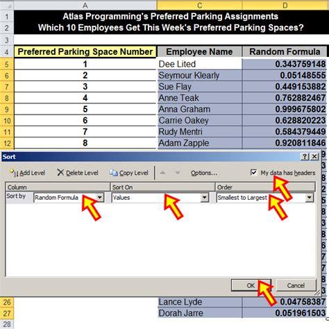 excel 2010 sorting tutorial tom s tutorials for excel sorting a list in random order