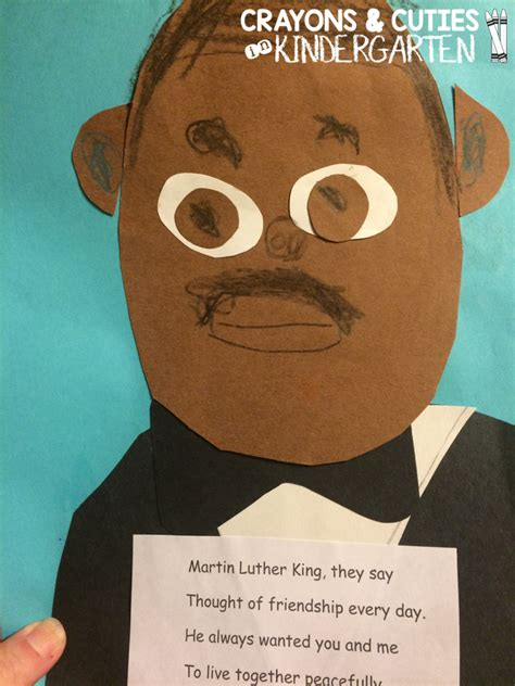 martin luther king jr crafts for crayons cuties in kindergarten martin luther king jr craft