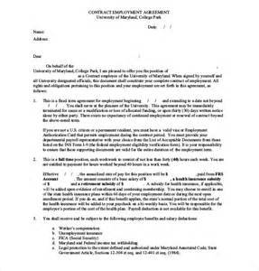Employee Contract Template Uk by Employee Agreement Template 10 Free Word Pdf Document
