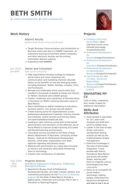 Curriculum Vitae Nurse Practitioner Template by Adjunct Faculty Resume Samples Visualcv Resume Samples
