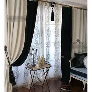 Black And White Thermal Curtains Black And Ivory Blackout And Thermal Country Curtains