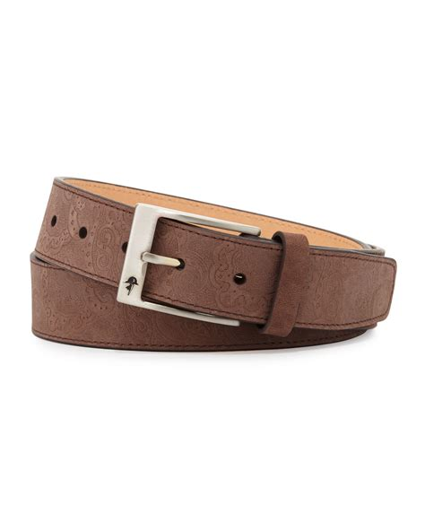 robert graham vanguard paisley embossed leather belt in