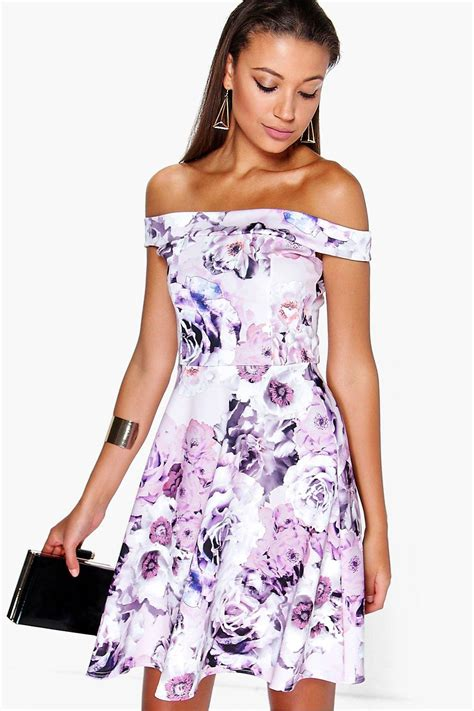 Delias Floral Print Satin Dress by Mila The Shoulder Floral Print Skater Dress At
