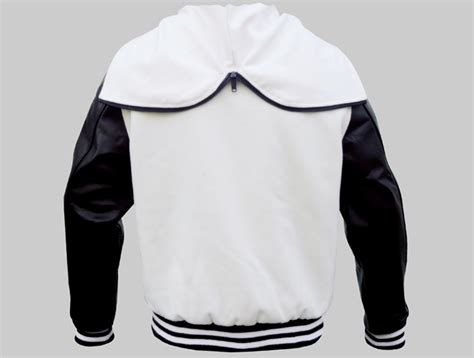 black and white pattern jacket zipper hood varsity jackets made of wool and genuine leather