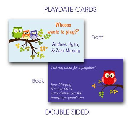 play date cards printable template 16 best images about play date invites on owl