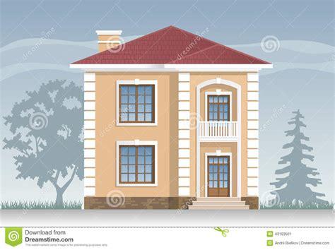 facciata casa facciata residenziale della casa illustrazione vettoriale