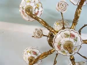 Vintage Porcelain Chandelier Vintage Chandelier White Porcelain Roses Brass Ceiling Fixture