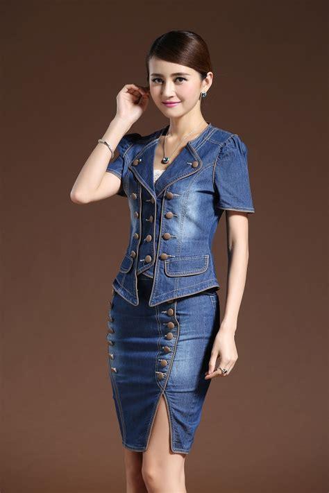 Ad5092013 Set With Skirt Import fashion suit dressess vestido 2 set denim