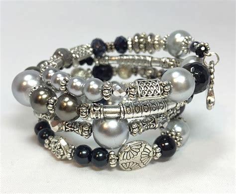 Handmade Memory Wire Bracelets - memory wire black and silver bracelet black silver