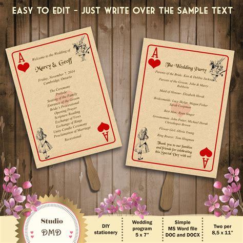 printable playing card invitation template printable wedding program template alice in wonderland