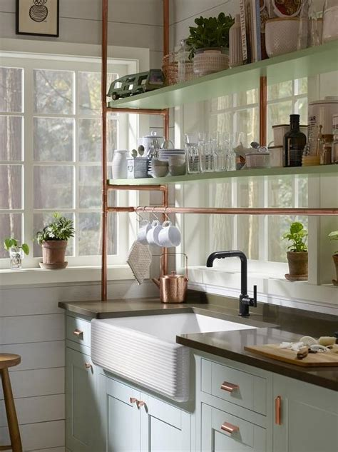 copper sink white cabinets light blue farmhouse kitchen cabinets with copper piping