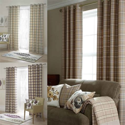 brown check curtains tartan check lined eyelet curtains ready made ring top
