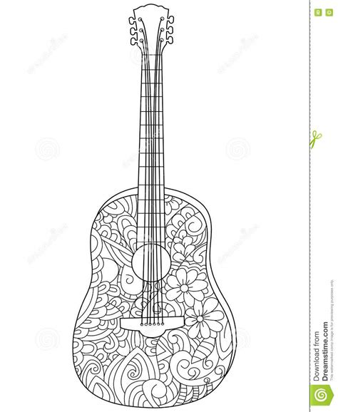 guitar coloring pages for adults musical instrument guitar coloring book vector for adults
