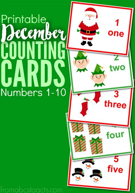 printable christmas numbers 1 10 printable december counting cards numbers 1 10 from abcs