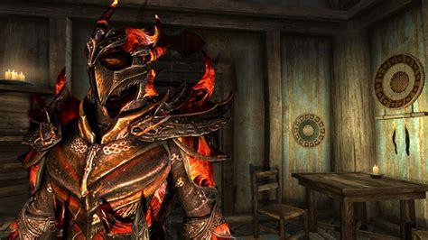 skyrim dragon armor retexture a daedric armor retexture flame plate hd at skyrim nexus