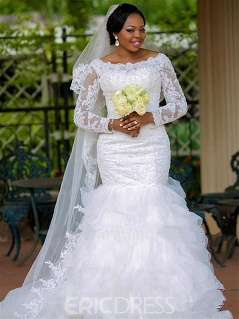 ericdress modest bateau appliques mermaid wedding dress