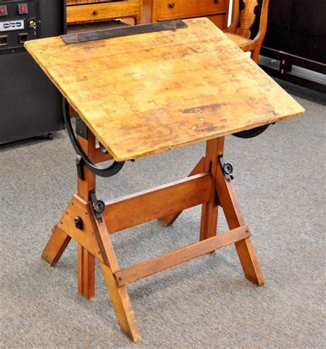 Vintage Wooden Drafting Table Antique Hamilton Economy Drafting Table Wood Cast Iron Vintage Ebay
