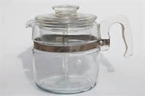 vintage Pyrex flameware 7756 B stovetop percolator, clear glass coffee pot