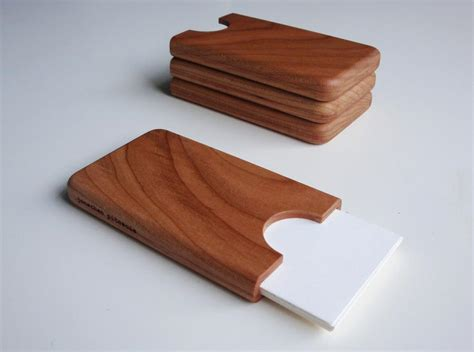 Handcrafted Wooden - handmade wooden business card holder gadgetsin