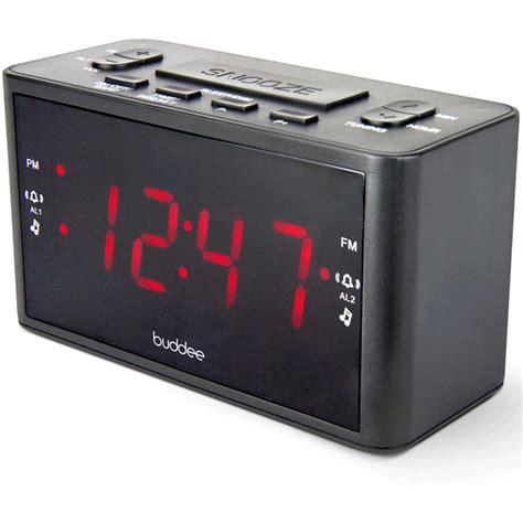 buddee dual alarm digital clock radio black big