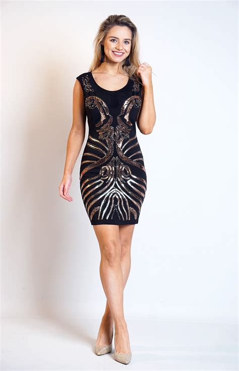Trisha Dress Black trisha black contrast beaded sequins dress