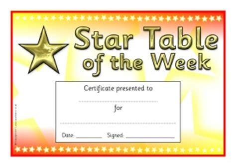 primary school star of the week certificates and awards