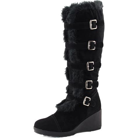 faux fur high heel boots black faux fur mid knee high boots platform wedge heel