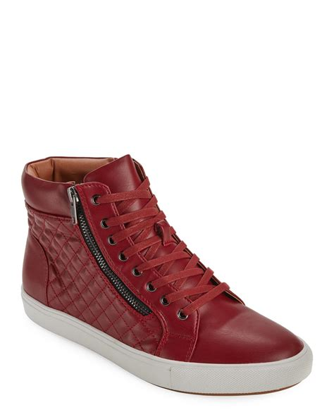 steve madden quodis quilted high top sneakers in