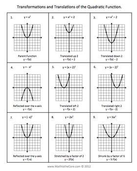 practice 10 6 translating conic sections answers worksheets parabolas worksheet opossumsoft worksheets