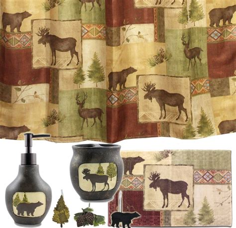 Lodge Bathroom Accessories Mountain Moose And Bath Set Cabin Decor Shower Curtain Rug