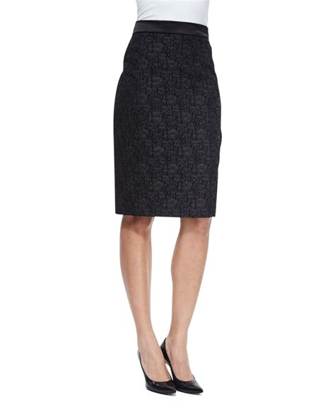 escada high waisted wool and silk blend pencil skirt in