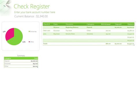 free check register template free check register