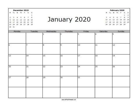 january  calendar starting  monday printable calendar template  printable