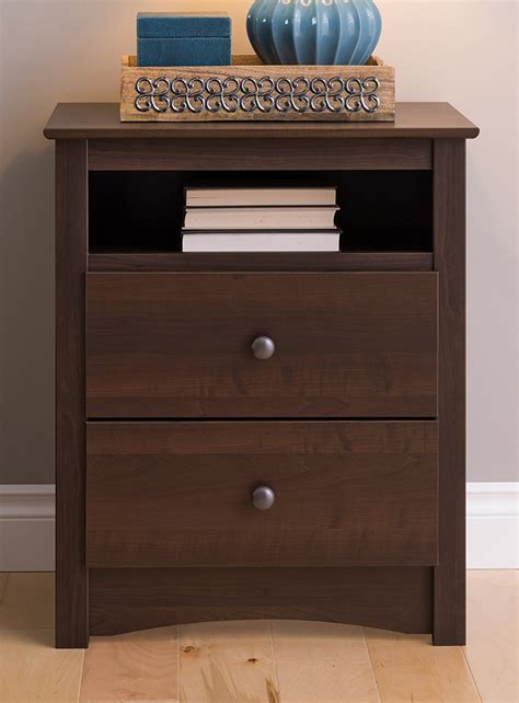 how tall should a nightstand be fremont 2 drawer nightstand with open shelf espresso